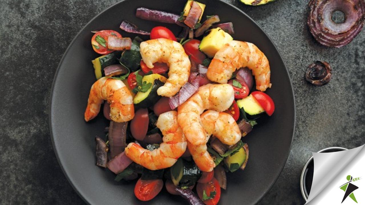 Γαρίδες στη σχάρα με λαχανικά & βαλσάμικο